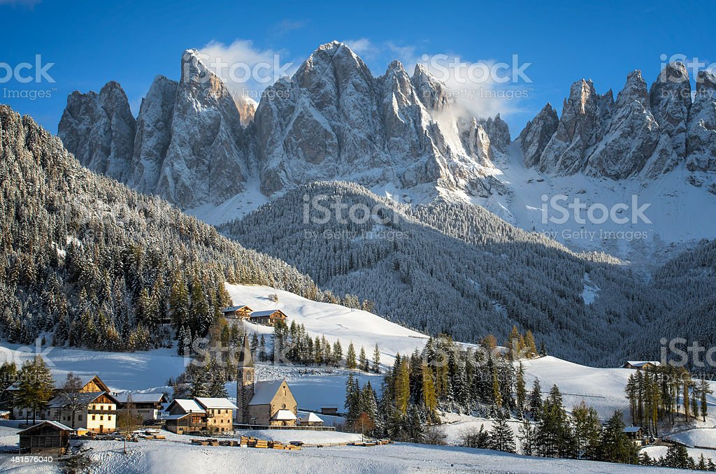 Dolomites village in winter stock photo