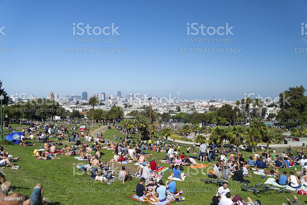 Dolores Park Horizontal Busy Day stock photo
