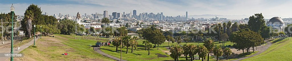Dolores Park Mission District downtown panorama San Francisco cityscape California stock photo