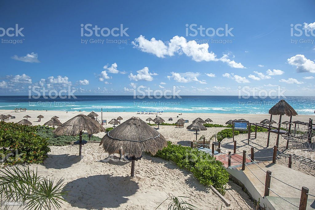 Dolphin Beach panorama, Cancun, Mexico stock photo