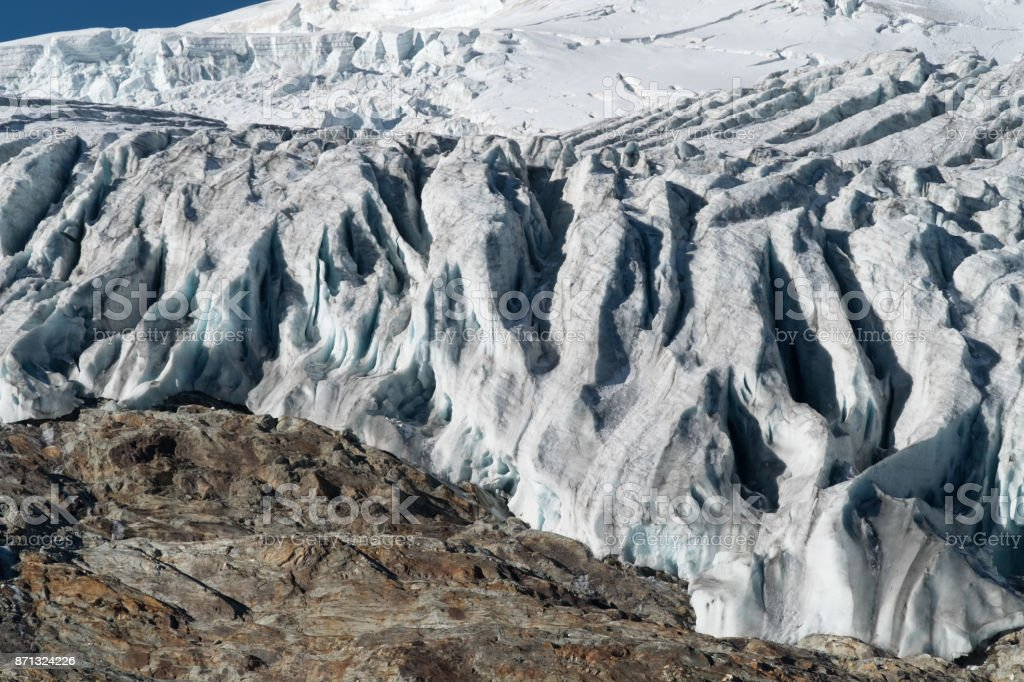 Dom Glacier, Saas-Fee, Saastal,, Visp, Valais, Switzerland. stock photo