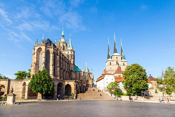 Dom hill of Erfurt Germany stock photo