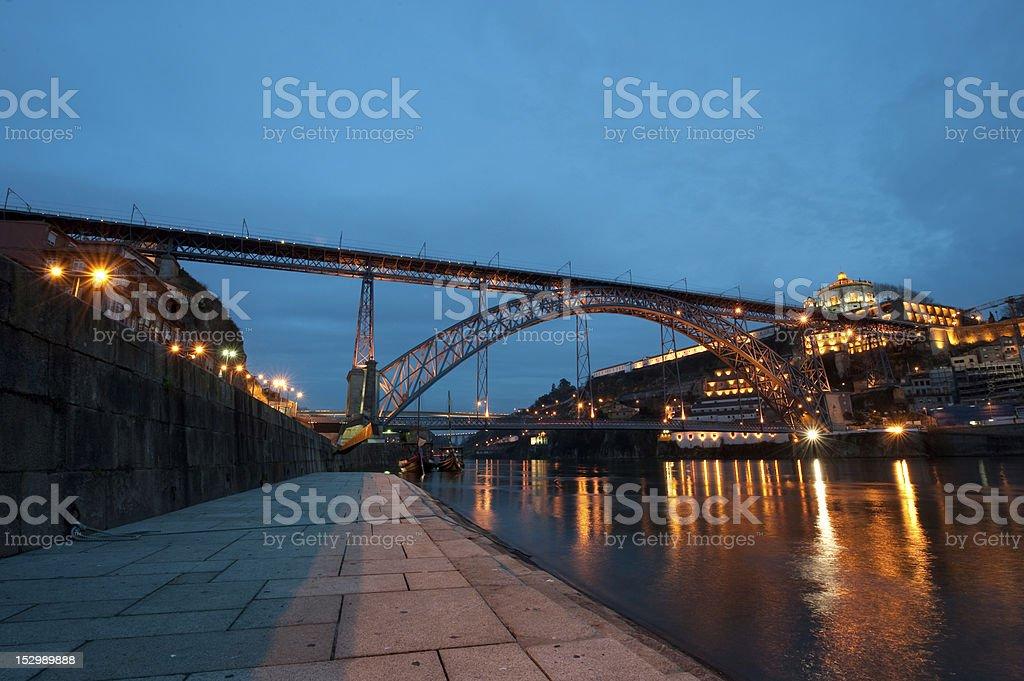 Dom Luis Bridge illuminated at night. Oporto, Portugal  western Europe royalty-free stock photo