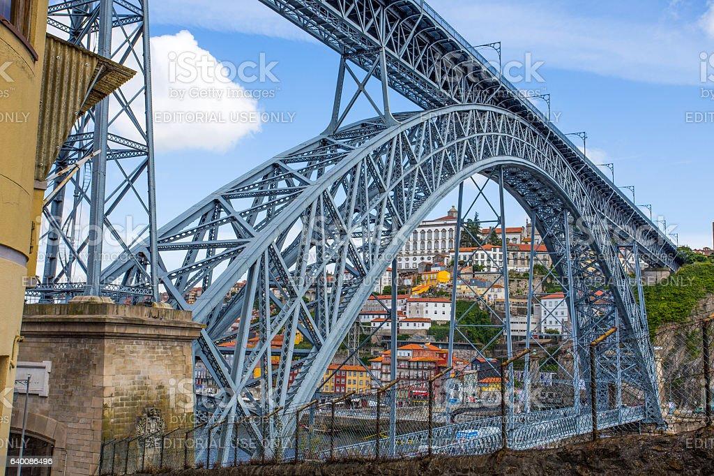 Dom Luis I Bridge in old port of Porto, Portugal stock photo