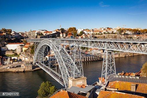 historical dom luis I bridge over douro river in oporto, portugal.