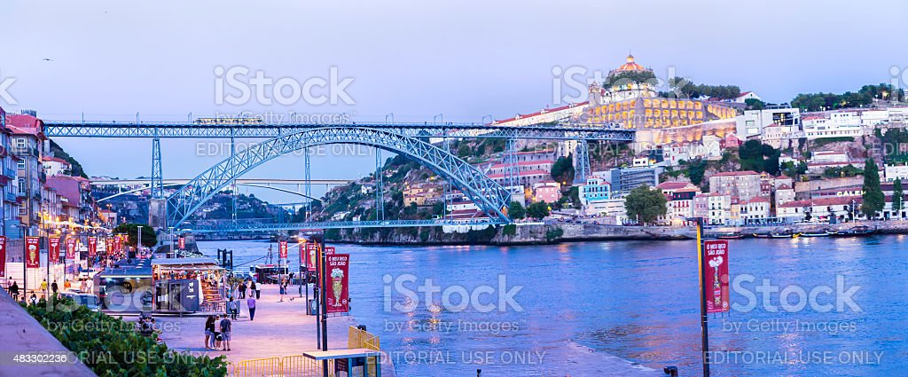 Dom Luis I Bridge in Porto, with Ribeira panorama stock photo