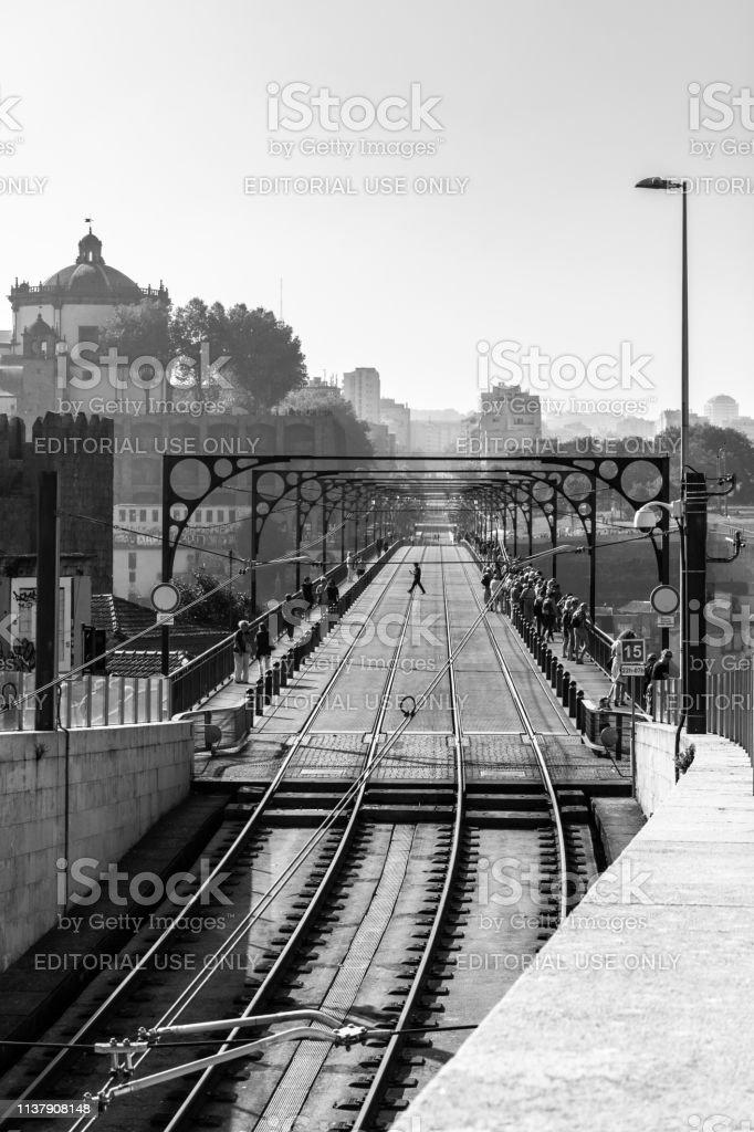 Dom Luis I Bridge view with subway train track stock photo