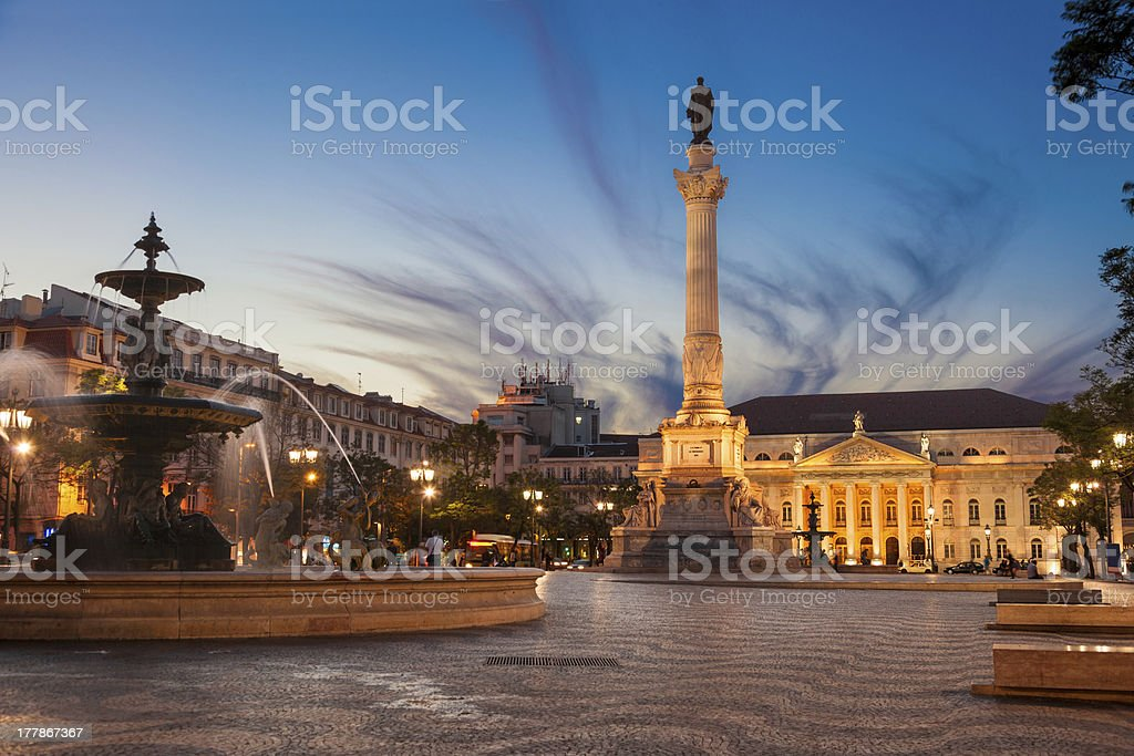 Dom Pedro IV square (also know as Rossio) at dusk royalty-free stock photo