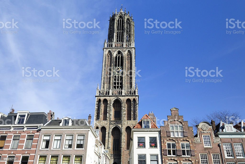 Dom tower and apartments in Utrecht royalty-free stock photo