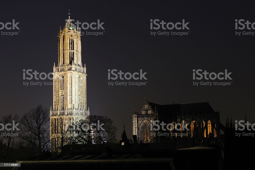 Dom tower and church in Utrecht stock photo
