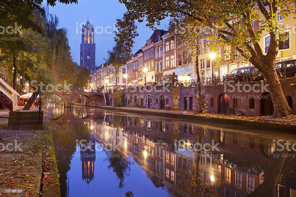 Dom tower in Utrecht, The Netherlands at night stock photo