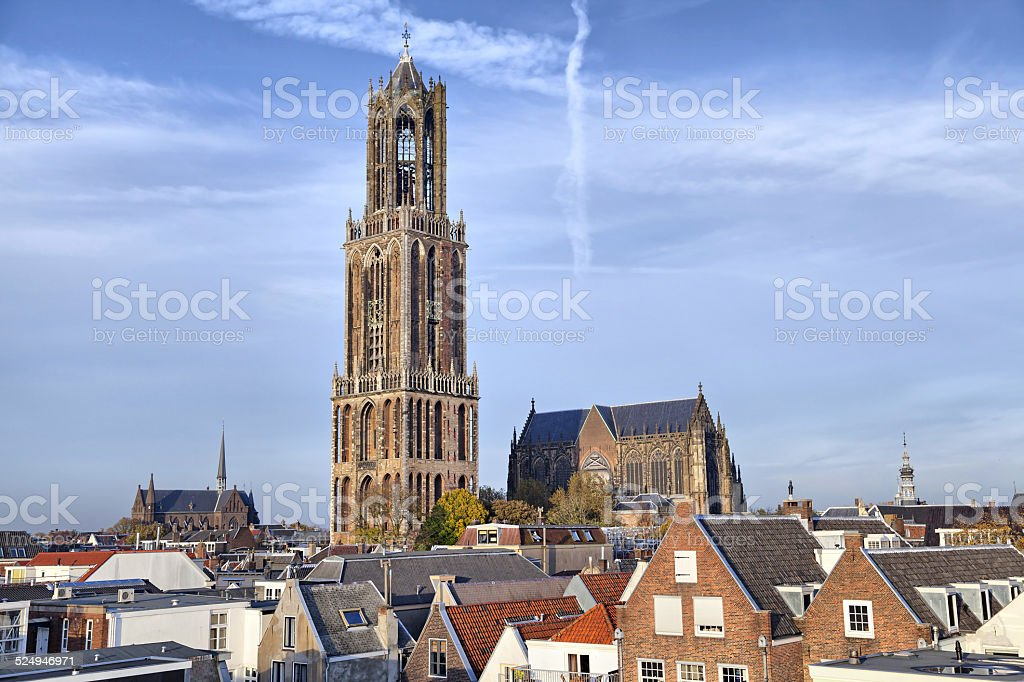 Dom Tower of St Martin's Cathedral in Utrecht, Netherlands stock photo