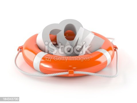 Life buoy with COM letters isolated on white background