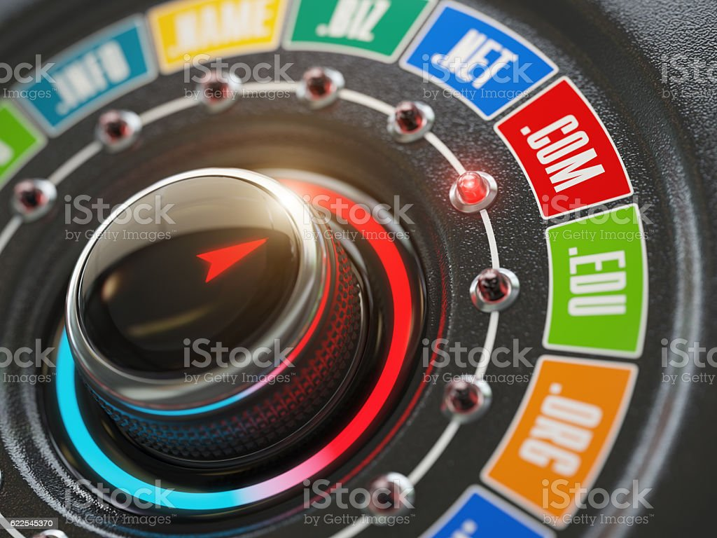 Domain name choice concept. Knob switch button and website  inte stock photo