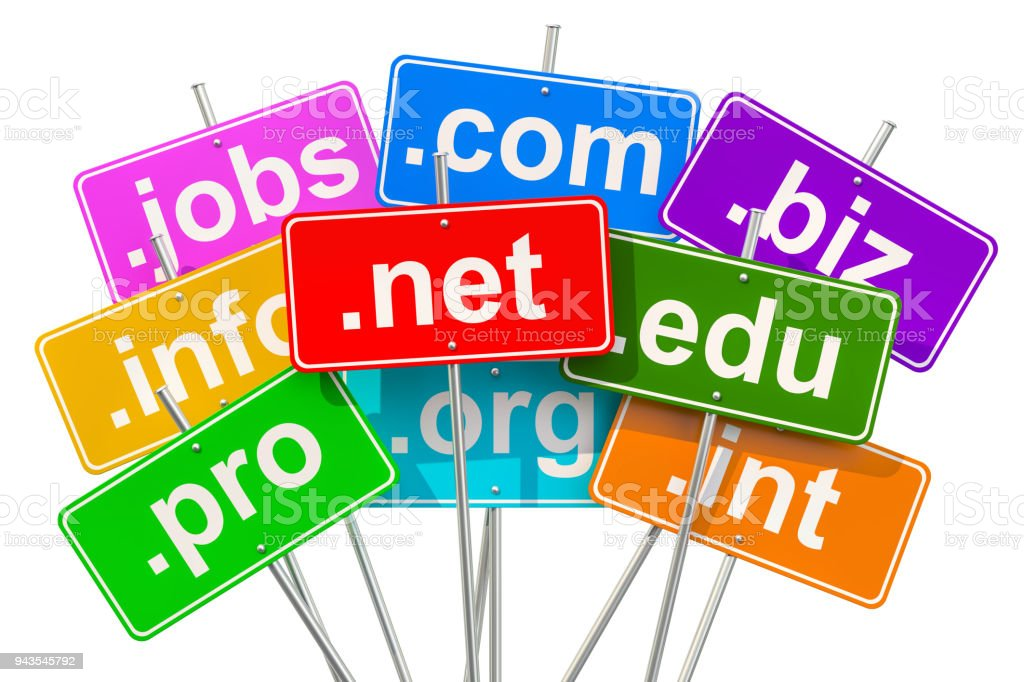 Domain names and internet concept, 3D rendering isolated on white background stock photo