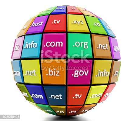 Globe with multi colored parts where domain names are written.