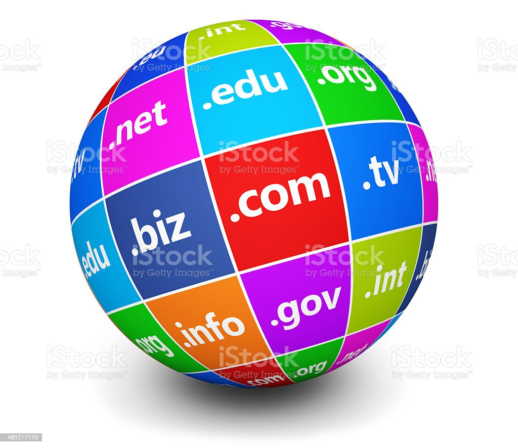 Domain Names Sign Web Globe stock photo