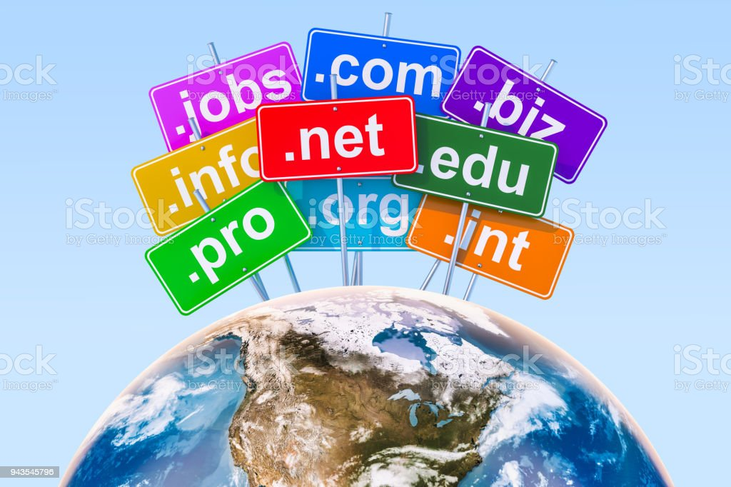 Domain names with Earth Globe concept, 3D rendering stock photo