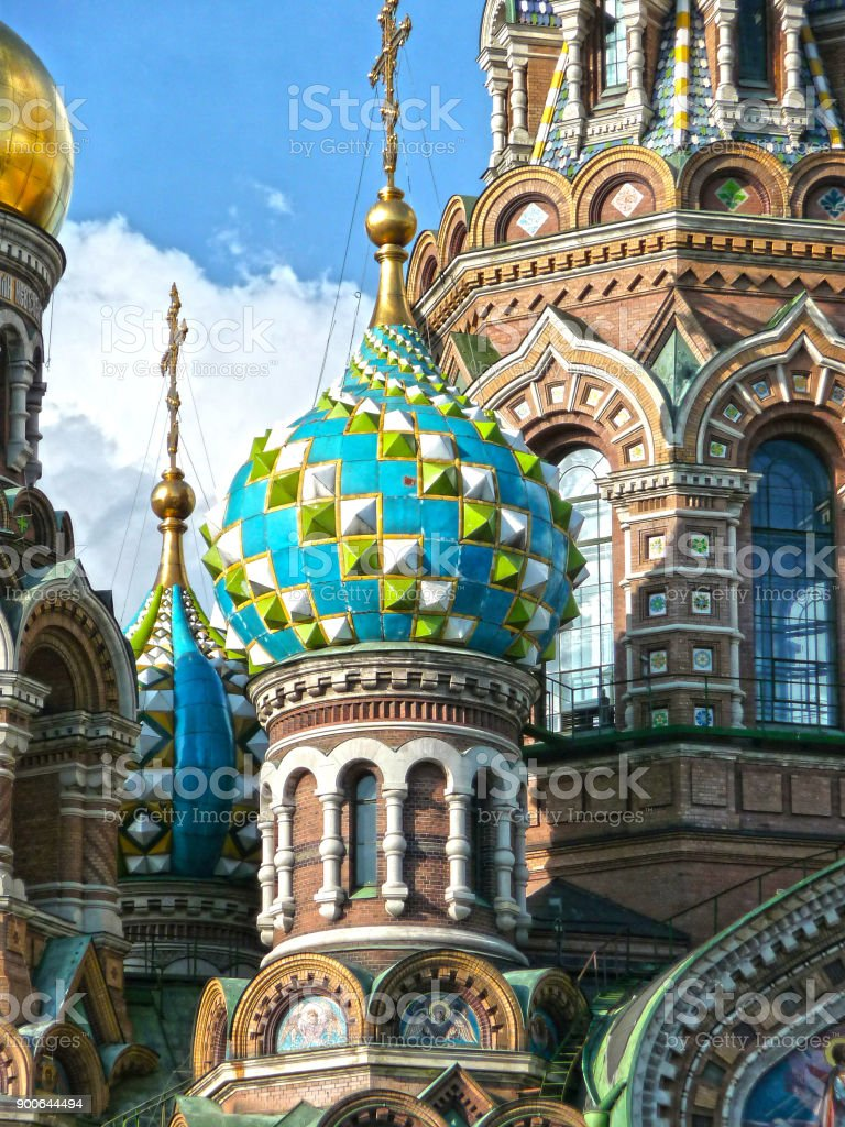 Dome at Chuch of Savior on Blood, St. Petersburg (Russia) stock photo
