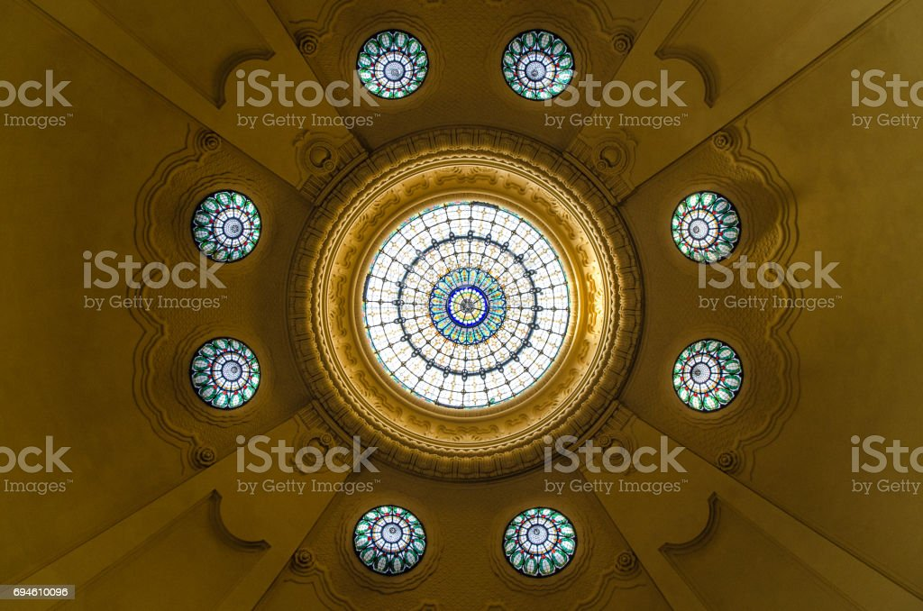 Dome at the entrance of Gellert Thermal Bath in Budapest stock photo