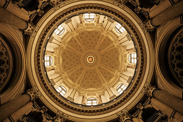 Dome, Basilica of Superga Interior dome of Basilica di Superga. Turin, Italy. Grained and vignetted for the moodhttp://www.massimomerlini.it/is/turin.jpg cupola stock pictures, royalty-free photos & images