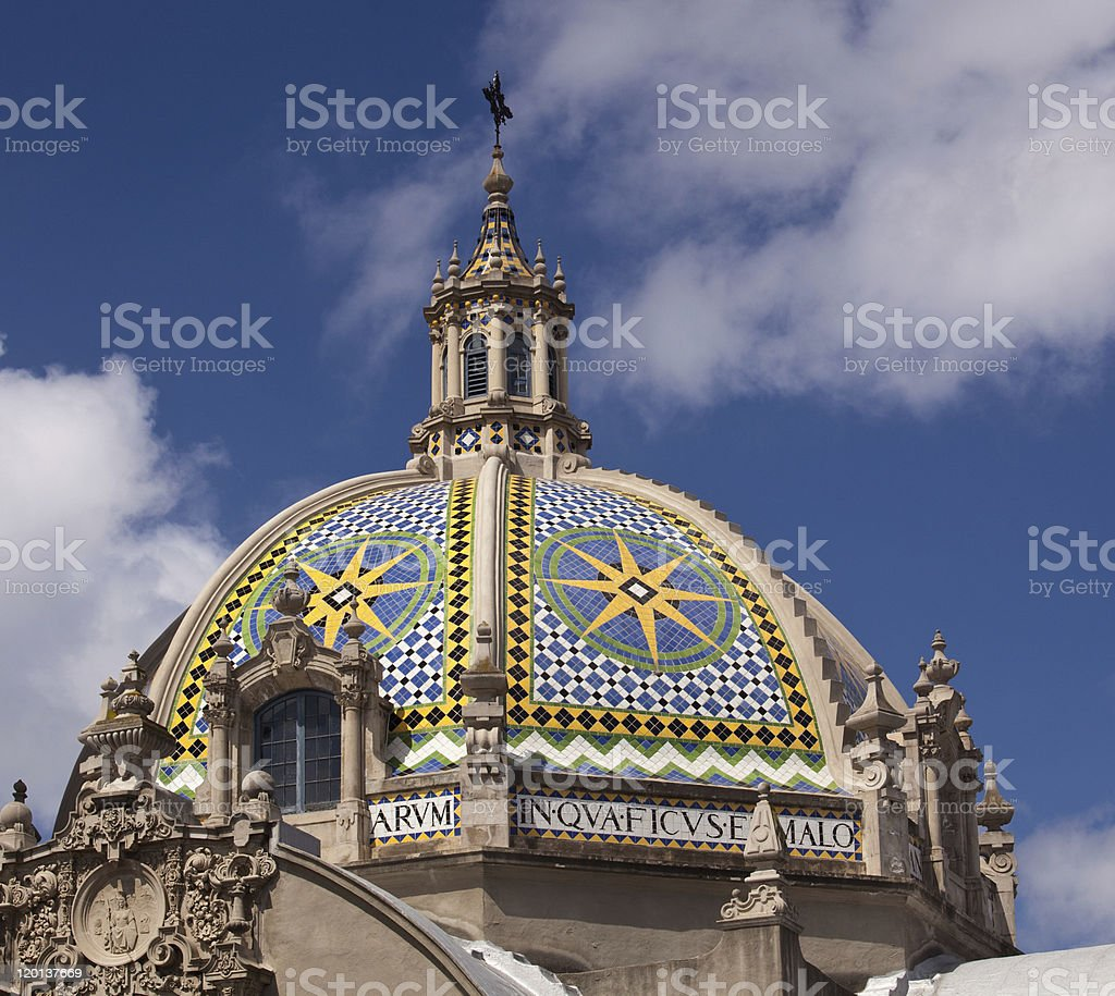 Dome by California Tower in Balboa Park stock photo