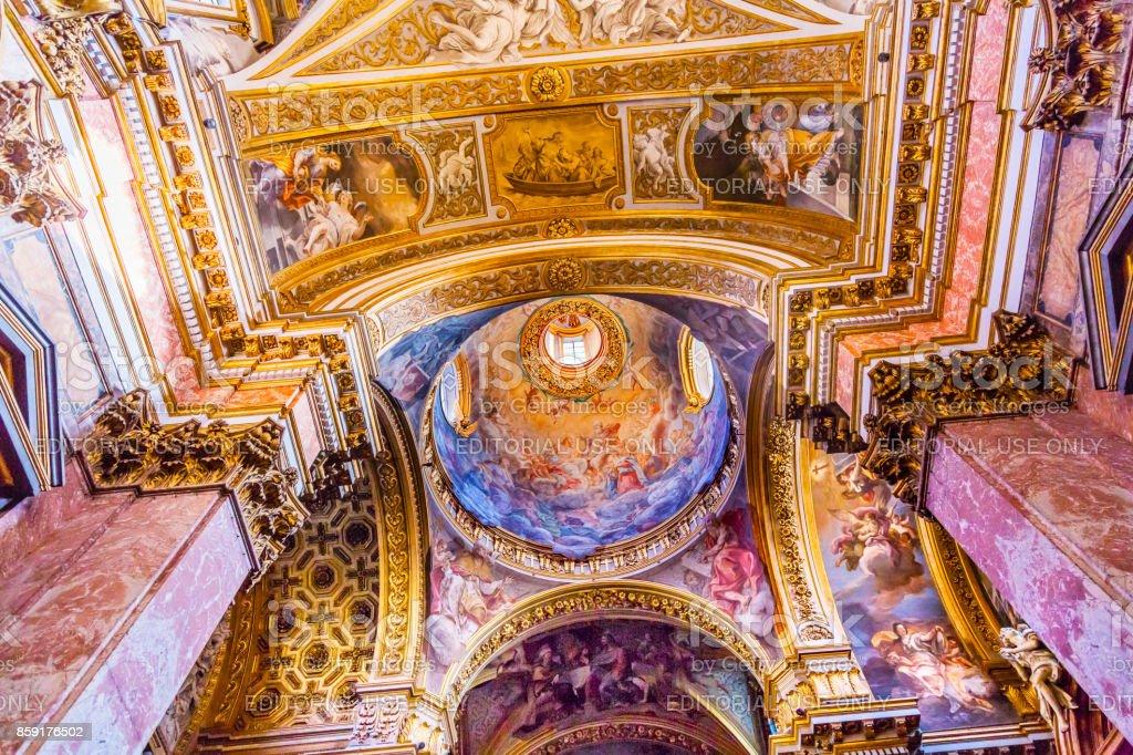 Dome Ceiling Santa Maria Maddalena Church Rome Italy stock photo