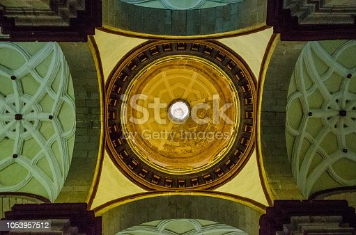 Dome from down of one of the churches of Cusco, Peru