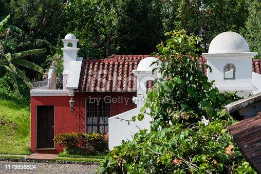 Dome in colonial house in Antigua Guatemala, Hispanic architecture, home archectonic design high society.