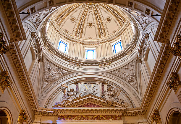 Dome inside Valencia Cathedral stock photo
