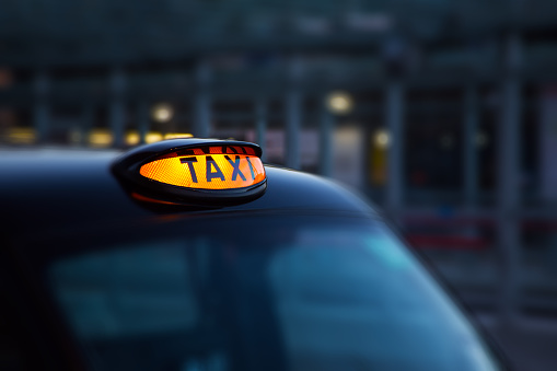 Dome Lamp Of Classic Black Cab In London Stock Photo - Download Image Now