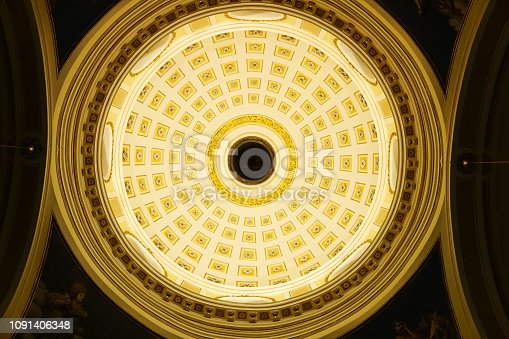 dome of a church in Puglia, Italy, low angle view, warm sunlight