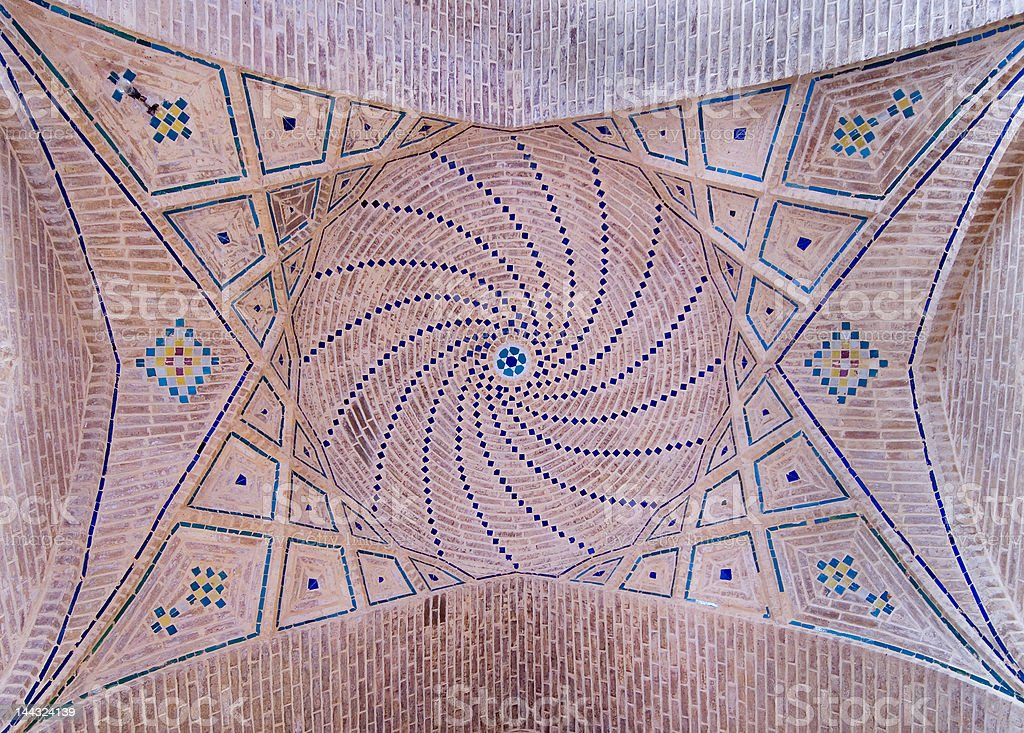Dome of an ancient mosque, oriental ornaments from Shiraz, Iran royalty-free stock photo