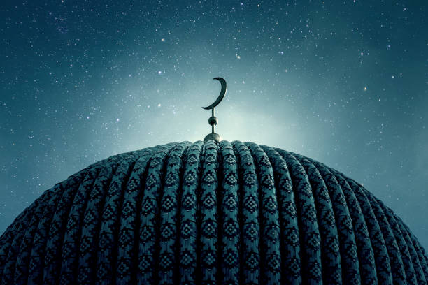 Dome of an old Mosque in the Night with stars on the Sky Dome of an old Mosque in the Night with stars on the Sky islam stock pictures, royalty-free photos & images