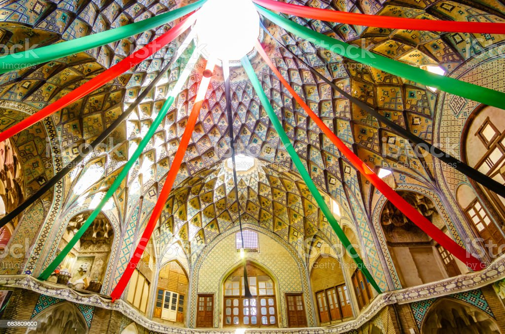 Dome of bazaar building in Kashan in Iran stock photo