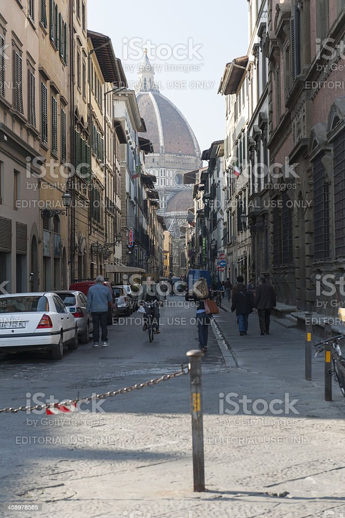 dome of florence with a street view royalty-free stock photo