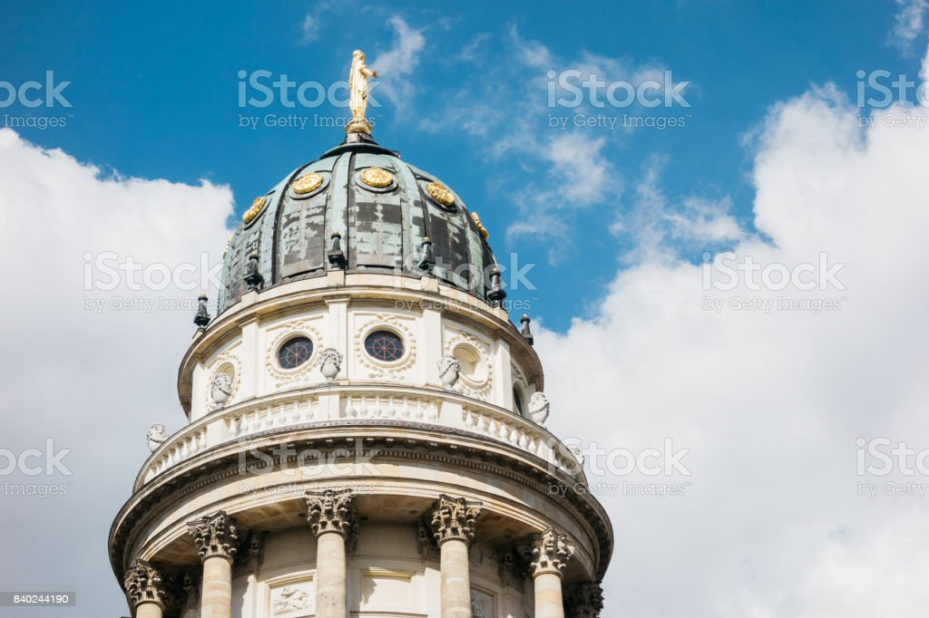 dome of french cathedral at berlin stock photo