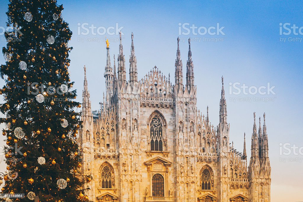 Dome of Milan and Christmas Tree stock photo