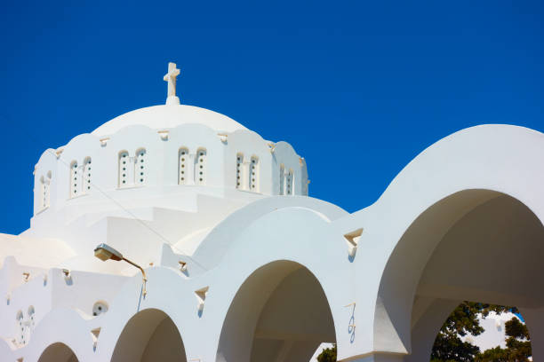 Dome of Orthodox Metropolitan Cathedral in Fira stock photo