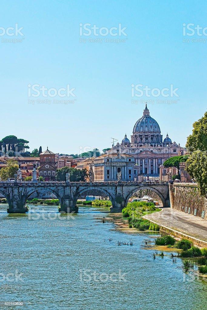 Dome of Saint Peter Basilica and Ponte Sant Angelo Bridge stock photo