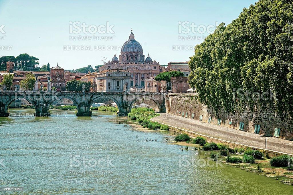 Dome of Saint Peters Basilica and Ponte Sant Angelo stock photo