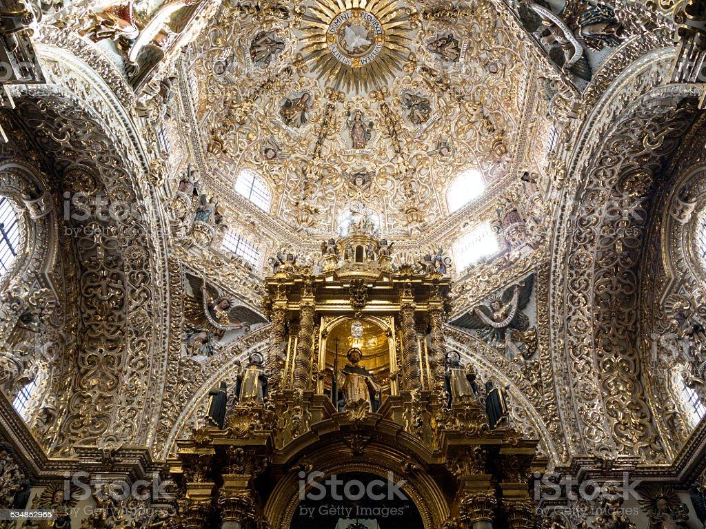 Dome of Santo Domingo church in Puebla, Mexico stock photo