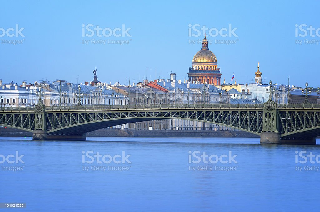 Dome of St. Isaac's Cathedral, Saint-Petersburg, Russia. stock photo