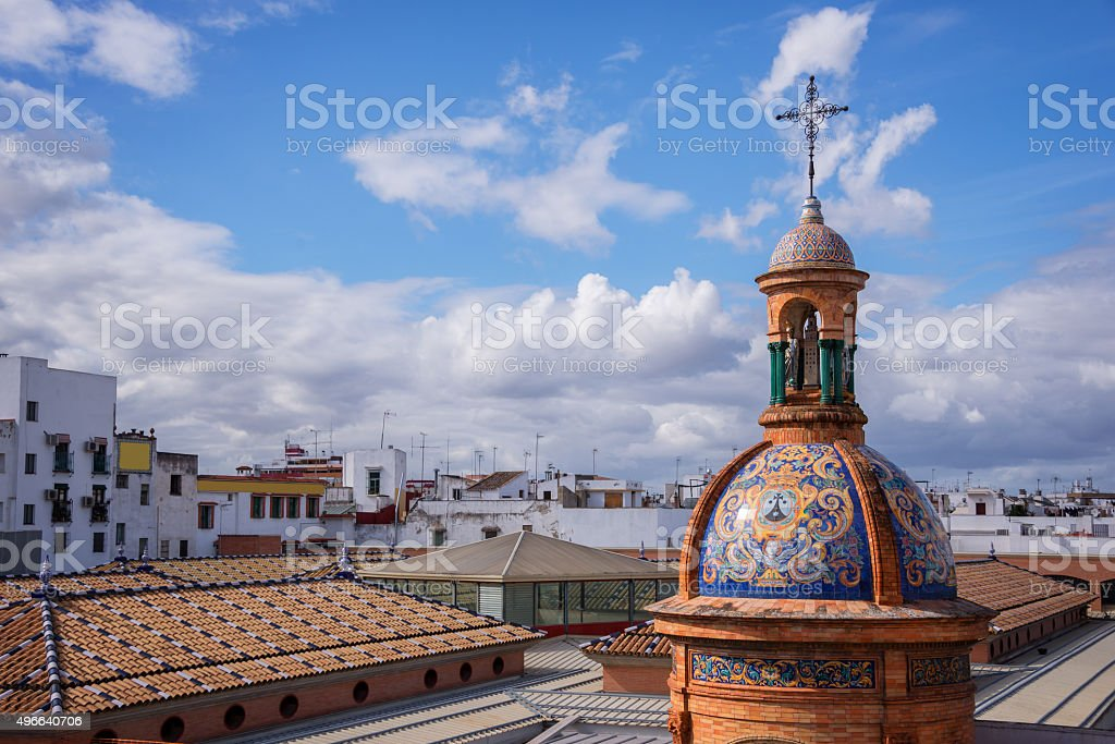 Dome of the chapel El Carmen and roofs, Seville stock photo