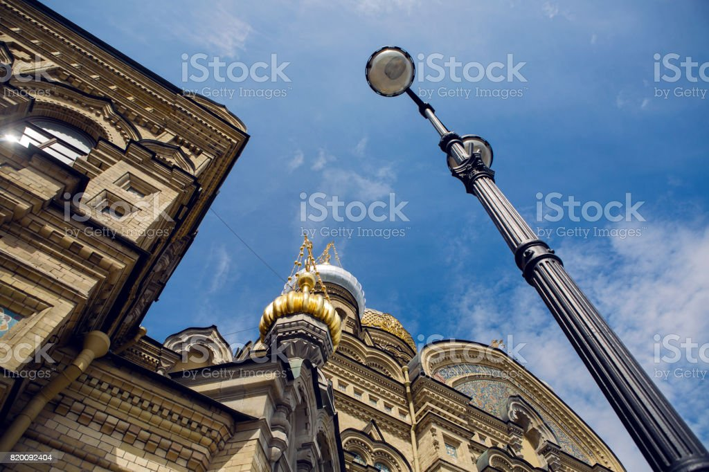 dome of the church against the blue sky stock photo