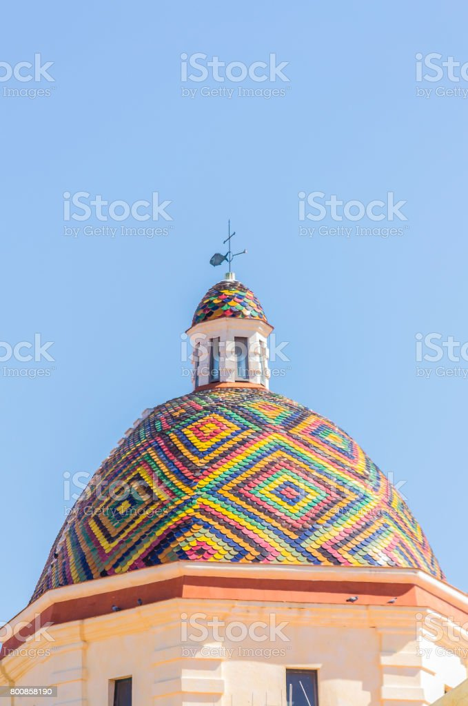 Dome of the church of San Michele in Alghero (Sardinia, Italy). stock photo