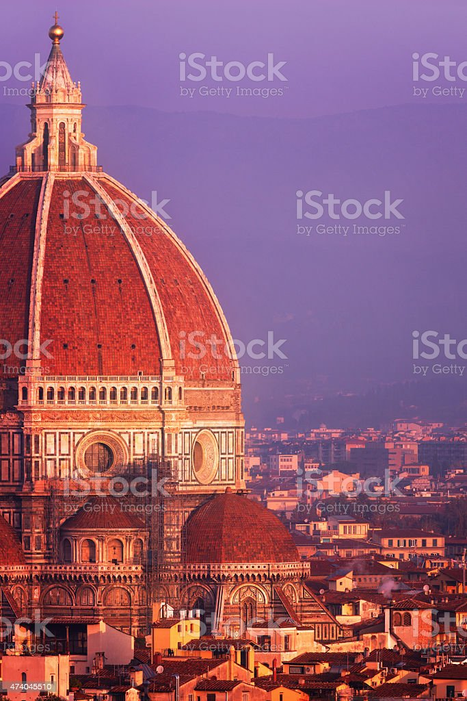 Dome of the Florence Cathedral at dusk stock photo