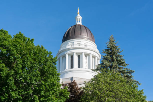 Dome of the Maine Capitol Building stock photo