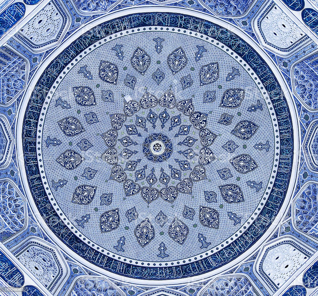 Dome of the mosque, oriental ornaments from Samarkand, Uzbekistan stock photo
