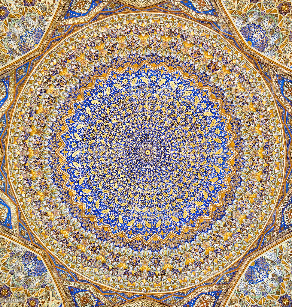 Dome of the mosque, oriental ornaments from Samarkand, Uzbekistan royalty-free stock photo